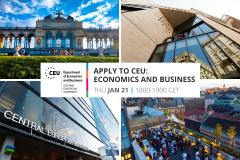 Apply to CEU Economics Business Master's PhD Analytics Finance Economics Economic Policy Executive MBA Business Administration